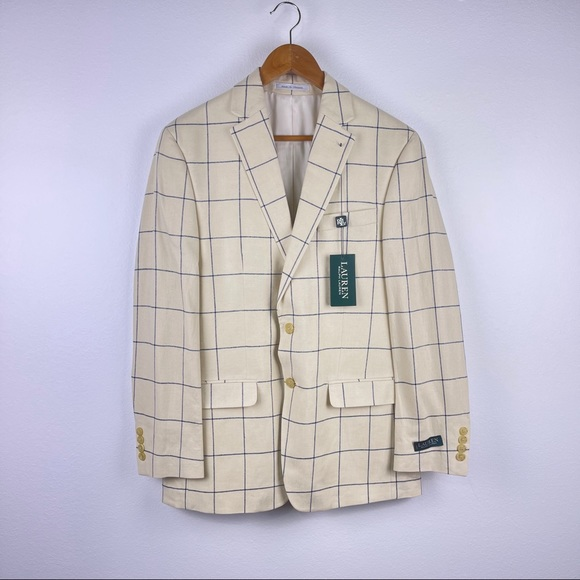 Lauren Ralph Lauren Cream Check Plaid Linen Blazer